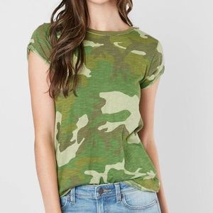 NEW Free People Clare Camouflage T-Shirt Green XS